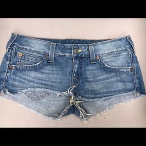 True Religion Bobby Cut Off Jean Shorts 31 30 HOT